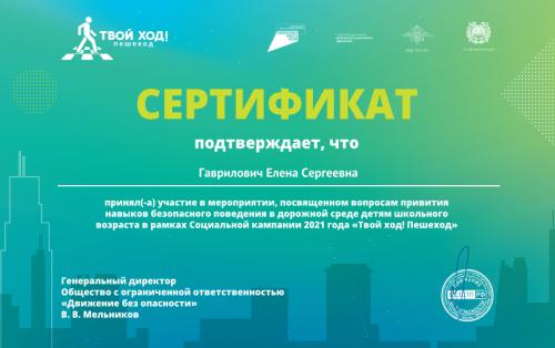 Гаврилович Твой ход!Пешеход 2021