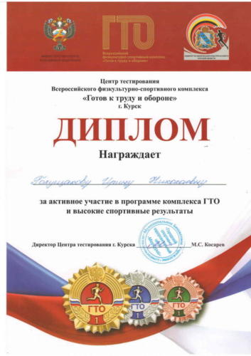 Диплом ГТО Голущакова