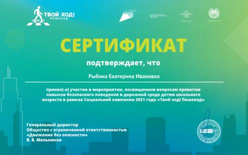 Рыбина Е.И. Сертификат