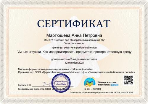 сертификат Умные игрушки