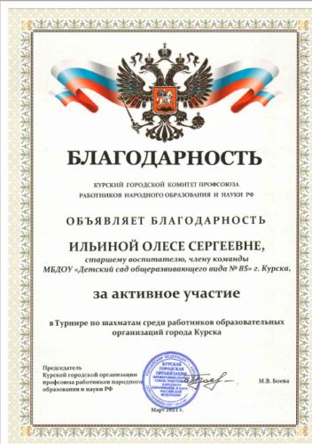 шахматы 2021 Ильина О.С.